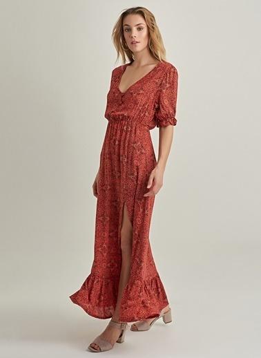 NGSTYLE Desenli Beli Büzgülü Elbise Kiremit